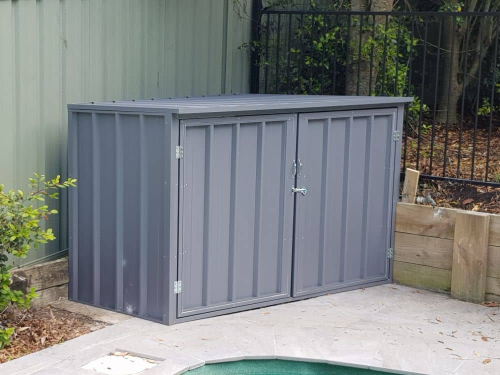 Deluxe, double hinged door, hinged roof pool pump cover built and installed by New Look Shed City