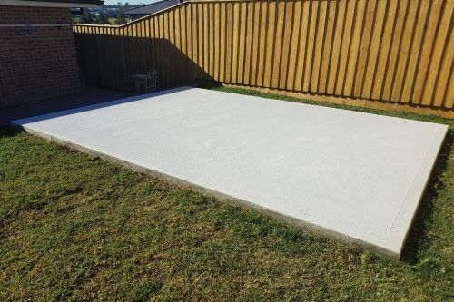 Concrete slab finished by New Look Shed City on a level site
